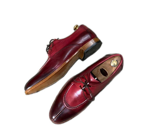 Hand Painted Split Toe Burgundy Leather Lace up Shoes