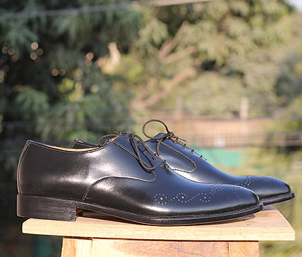 Pure Black Leather Brogue Lace Up Shoes