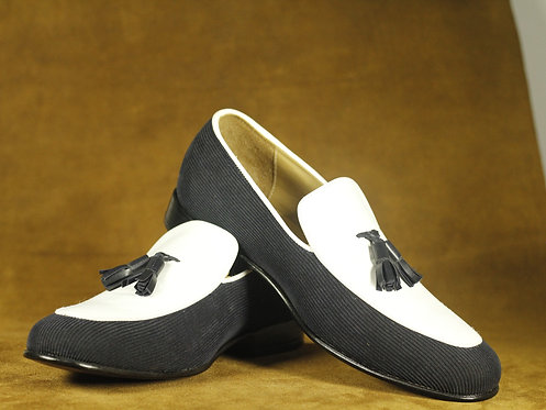 Handmade Mens Moccasin Shoes White Blue Suede & Cotroy Tussles Shoes