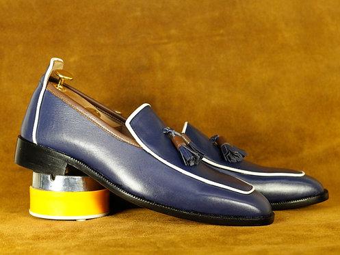 Luxury Navy Blue Leather Tasseled Loafers
