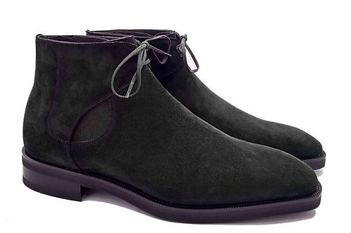 Half Ankle Pure Black Lace Up Velvet Leather Boot