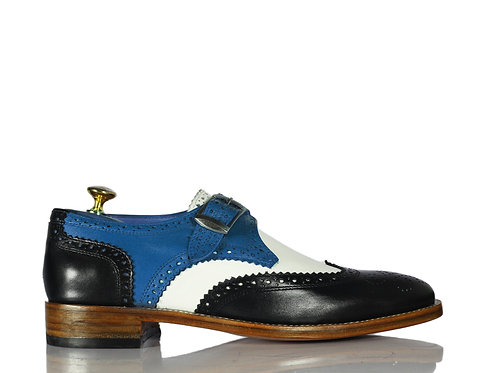 New Handmade Men Monk Leather Buckle Shoes