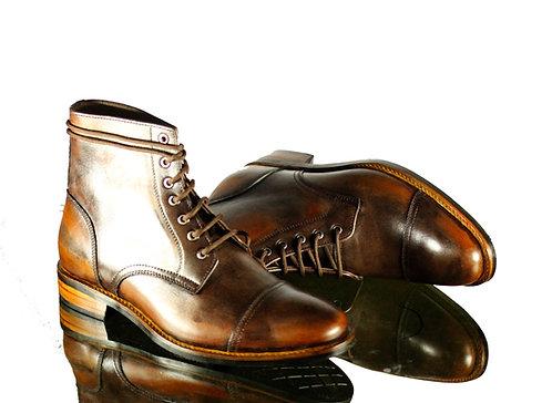 Men's Handmade Brown Cap Toe Vintage Leather Boots Ankle designer Boot
