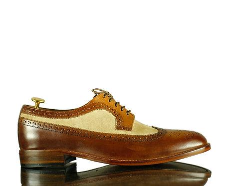 Men's Wing Tip Leather Shoes, Dress Designer Suede Shoes