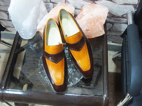 Men Bespoke Men Brown & Yellow Penny Loafers Dress Leather Shoes