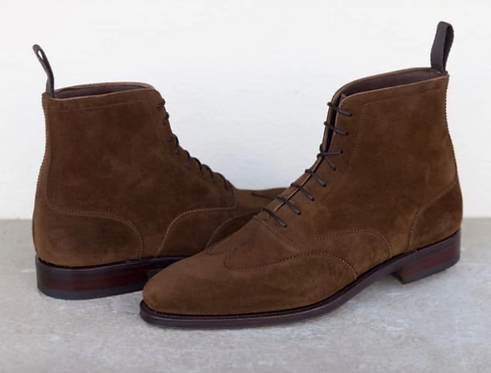 Men's Brown Wing Tip Ankle Suede Boots Dress Boot