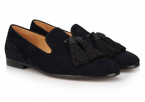 Handmade Men's Blue Tussles Oxfords Party shoes, Men Velvet Dress Shoes