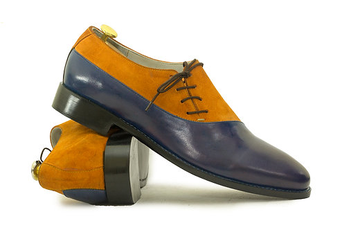 Hand Crafted Two Tone Stylish Leather Suede Men's Shoes