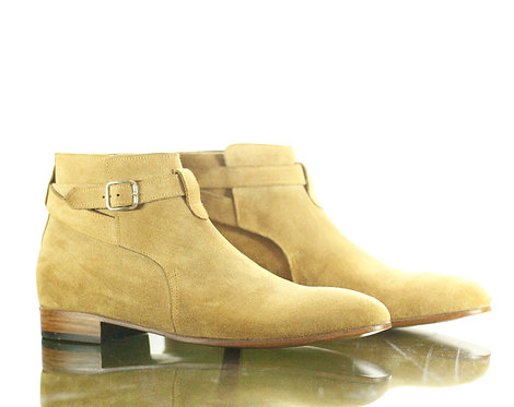 Handmade Beige Men Ankle Jodhpurs Dress Suede Boot