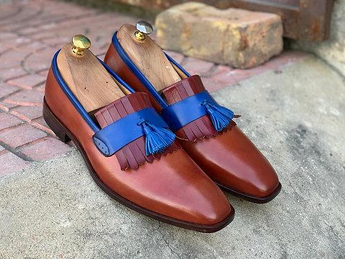 Fringe Tasseled Tan Leather Slip On Loafers