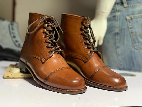 Cap Toe Ankle High Tan Lace Up Leather Boot