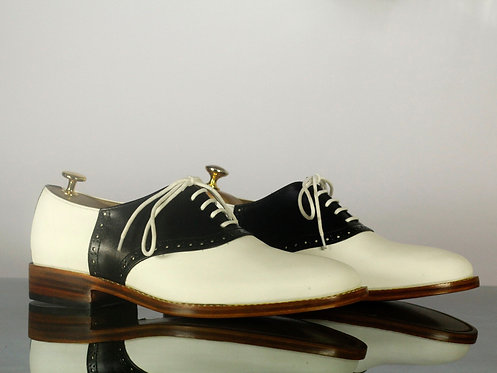 Handmade White & Black Lace Up Dress Shoes, Men Oxford Shoes