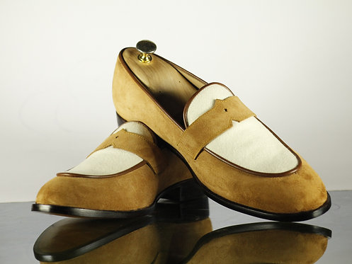 Two Tone Round Toe Leather Suede Moccasin Loafers