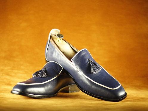 Handmade Men's Slip on Slippers Blue Leather Tussles Shoes