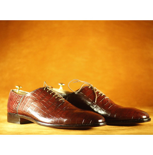 Oxford Men's Brown Alligator Leather Lace Up Shoes,Handmade Dress Shoes