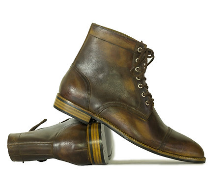 Ankle high Cap Toe Brown Vintage Leather Boot
