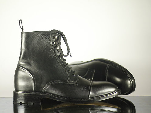 Black Cap Toe Ankle High Leather Lace Up Boot