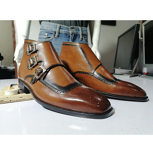Men's Brown Half Ankle Leather Boots, Bespoke Triple Monk Designer Boot