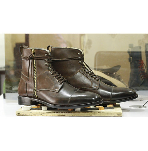 Men's Ankle Cap Toe Leather Boot, Handmade Dress Designer Brown Boots