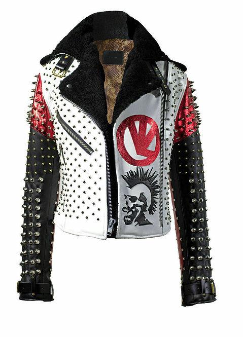 Men's Handmade Victor Luna White Black Studded Rock Punk Genuine Leather Jacket