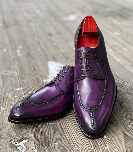 Handmade Purple Split Toe Lace Up Leather Shoes For Men