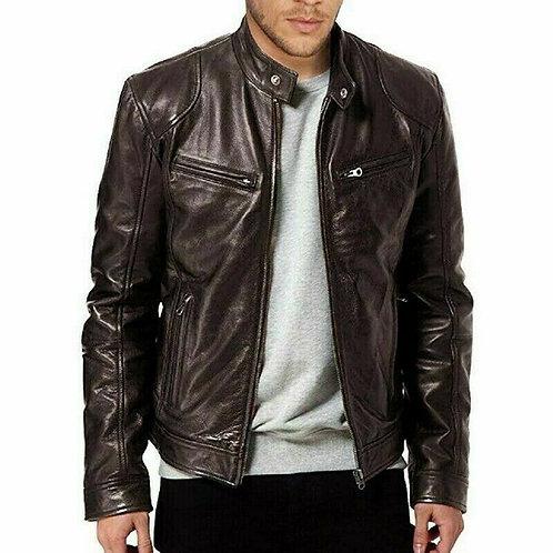 Men's Genuine Lambskin Leather Jacket & Brown Slim fit Biker Jacket For Men's