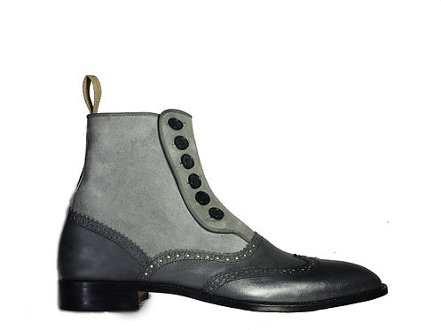 Men Gray Suede and Leather Button Boots ankle boots