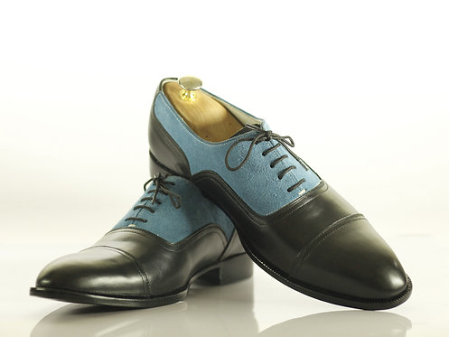 Handmade Men Black & Blue Cap Toe Leather Suede Oxford Shoes
