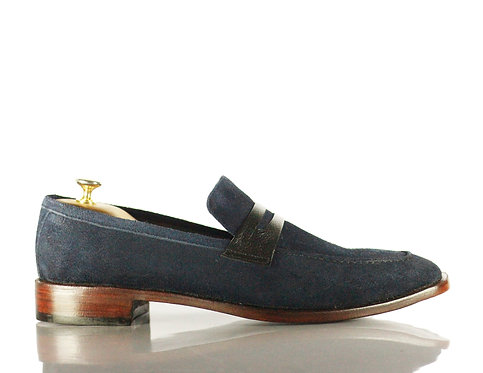 Men's Retro Navy Loafer Suede Party Shoes