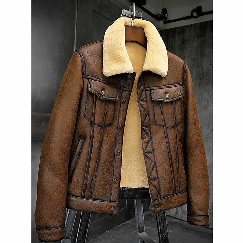 Mens RAF B3 Bomber Flight Aviator SheepskinLeather Jacket Denim style with Fur