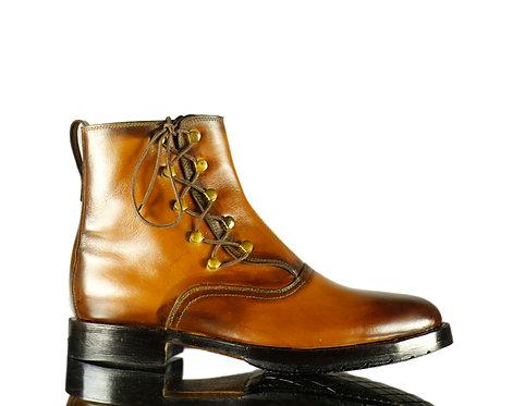 Men's Handmade  Desert Leather Boots in Brown