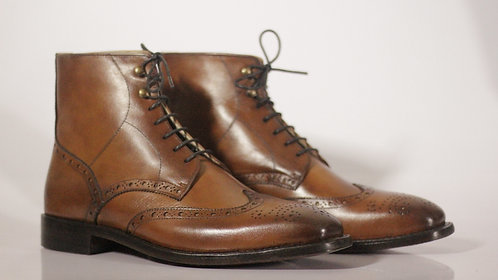 Tan Handmade Ankle High Wing Tip Leather Boot