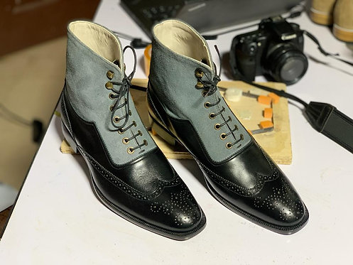 Two Tone Oxford Wing Tip Leather Suede Boot