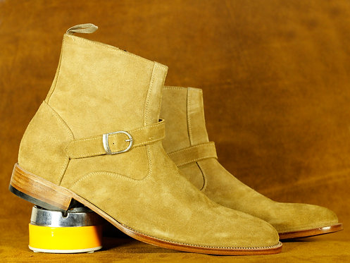Ankle High Beige Jodhpurs Leather Suede Boot