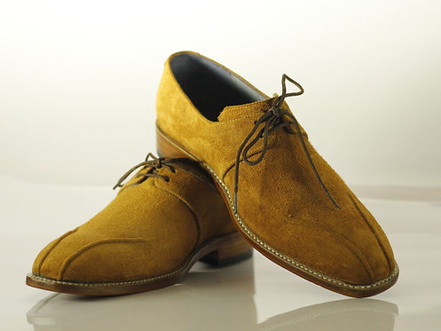 Men's Tan Stylish Bespoke Suede Oxford Shoes