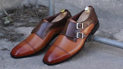 Brown & Tan Cap Toe Monk Leather Shoes