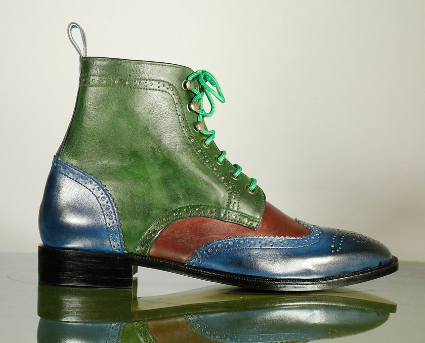 Men Multi color Boots Green Dress Bespoke Ankle Boots