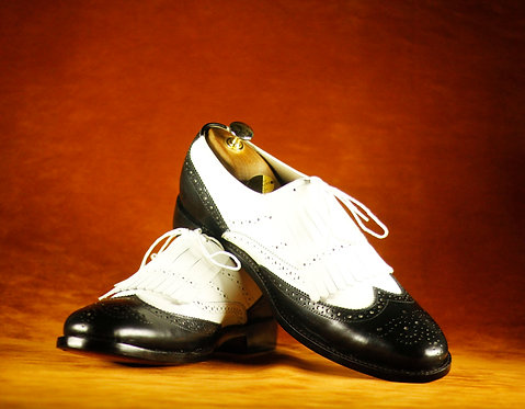 Hand Painted White & Black Wing Tip Fringe Shoes,Men Oxfords Dress Shoes