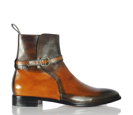 Men's Brown Jodhpurs Leather Boots Buckle Two Tone Boots