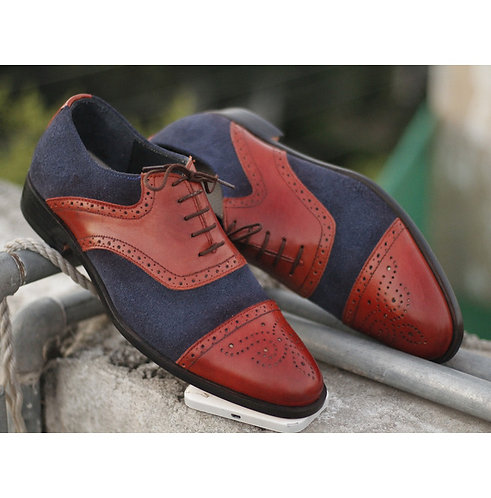 Men's Blue Brown Cap Toe Lace up Leather Suede Shoes Men Dress Formal Shoes