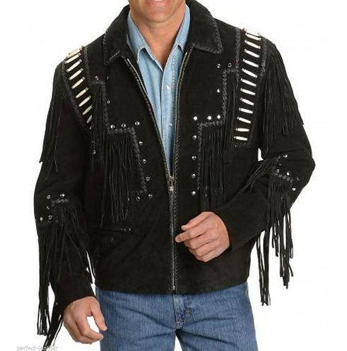 Men Leather Western Wear Black Suede Leather Jacket Fringe Beads, Cowboy Jacket