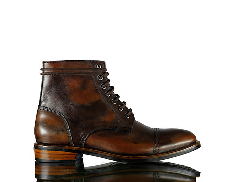 Handmade Men's Brown Two Tone Leather Boots