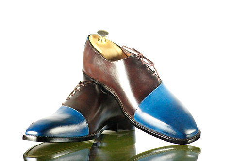 Men Bespoke Brown & Blue Dress Leather Lace Up Shoes