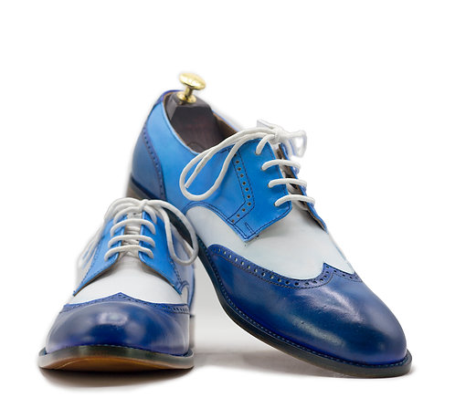 Hand Painted Three Tone Wing Tip Men's Leather Shoes
