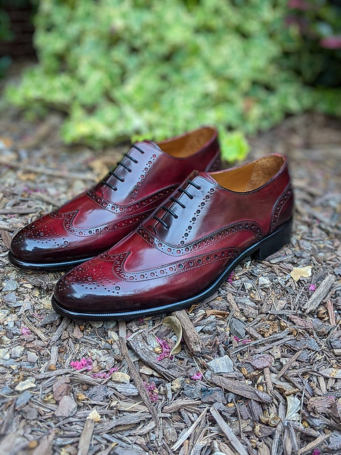 Handmade Wing Tip Burgundy Leather Lace Up Shoes