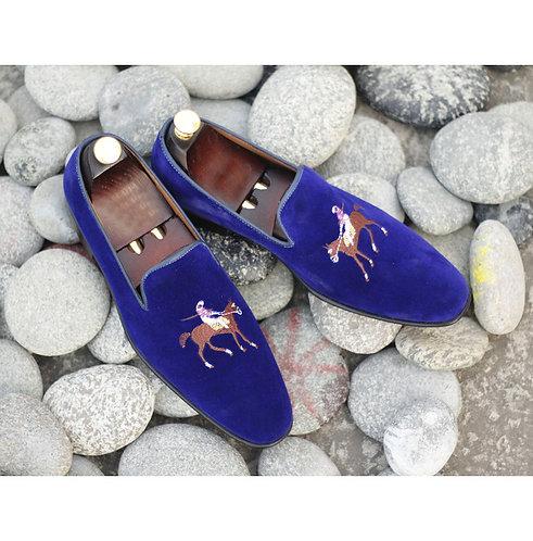 Besoke Oxford Blue Velvet Loafers Slip Ons Shoes Men Dress Shoes