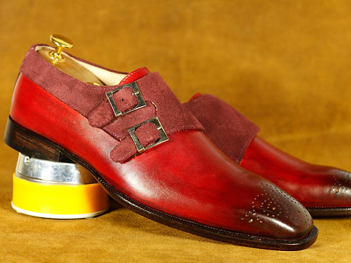 Pure Leather Suede Burgundy Brogue Oxford Men's Shoes