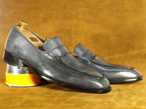 Oxford Gray Square Toe Leather Slip On Loafers