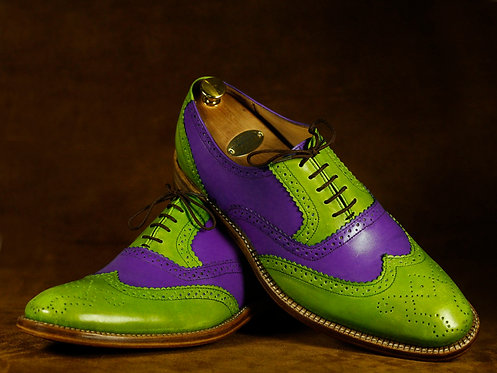 Handmade Purple & Green Wing Tip Oxford Leather Oxford Shoes