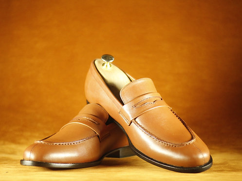 Men Bespoke Men Brown Penny Loafers Dress Leather Shoes